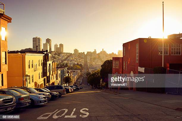 usa, california, san francisco, view along filbert street on russian hill in evening light - san francisco california - fotografias e filmes do acervo