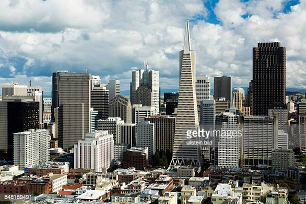 USA California San Francisco View from Coit Tower to the downtown Financial Center with Transamerica Pyramid