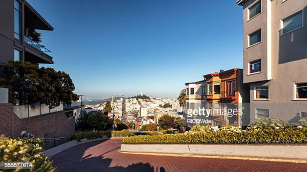USA, California, San Francisco, View from Russian Hill to Coit Tower and Telegraph Hill