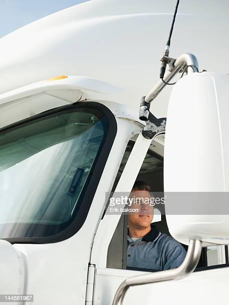 usa, california, santa ana, truck driver sitting in truck - santa ana california stock pictures, royalty-free photos & images