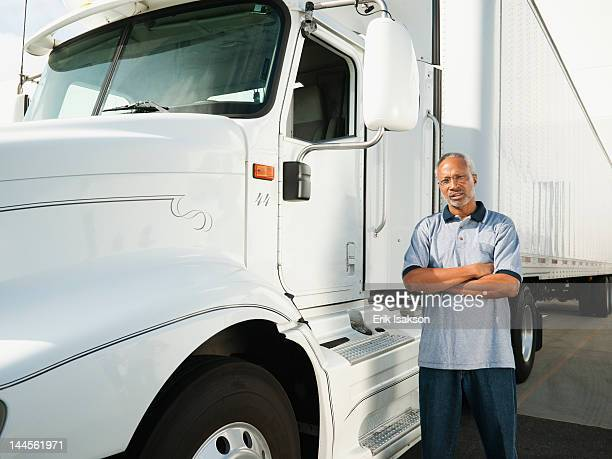 usa, california, santa ana, truck driver standing   near truck - santa ana california stock pictures, royalty-free photos & images