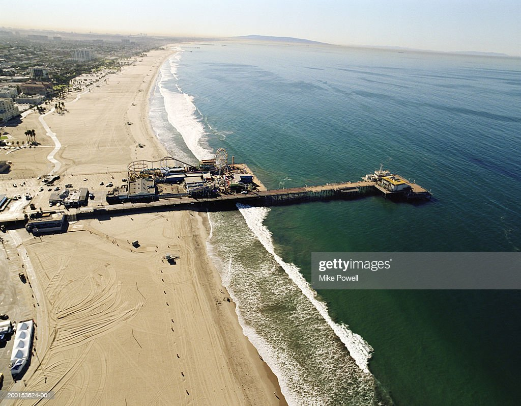 USA, California, Santa Monica, aerial view of Santa Monica Pier : Stock Photo