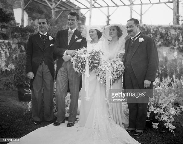Screen actor Weds Daughter Of Latin American Consul John Wayne motion picture actor and his bride the former Miss Josephine Saenz Panamanian Consul...