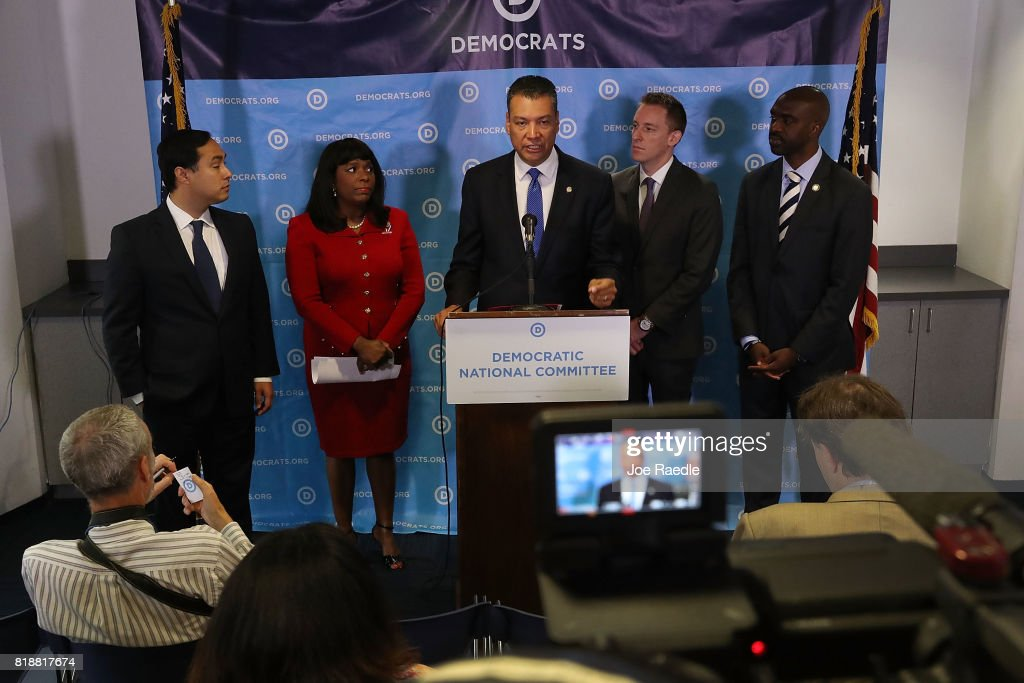 California Secretary of State Alex Padilla speaks as (L-R) Rep. Joaquin Castro, (D-TX), Rep. Terri Sewell (D-AL), Jason Kander, president of Let America Vote, and DNC Vice Chair Michael Blake listen during a press conference held at the Democratic National Headquarters on July 19, 2017 in Washington, DC. The news conference was held 'to explain why the Trump administration's voter fraud commission was set up from the start to mislead the public and the steps that Democrats will take to fight back.