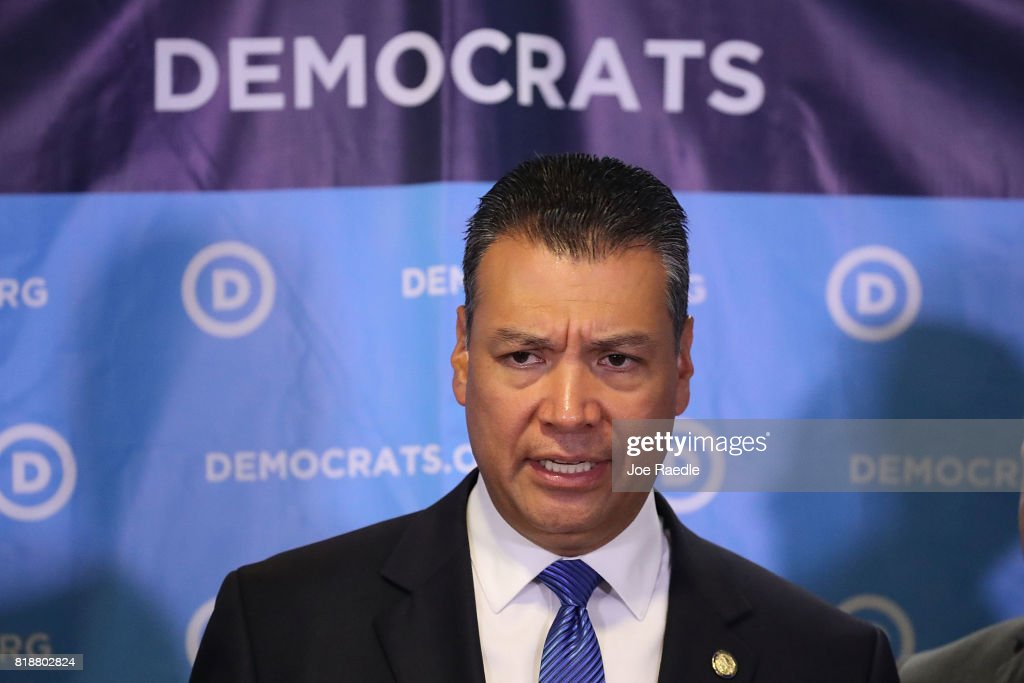California Secretary of State Alex Padilla speaks during a press conference held at the Democratic National Headquarters on July 19, 2017 in Washington, DC. The news conference was held 'to explain why the Trump administration's voter fraud commission was set up from the start to mislead the public and the steps that Democrats will take to fight back.