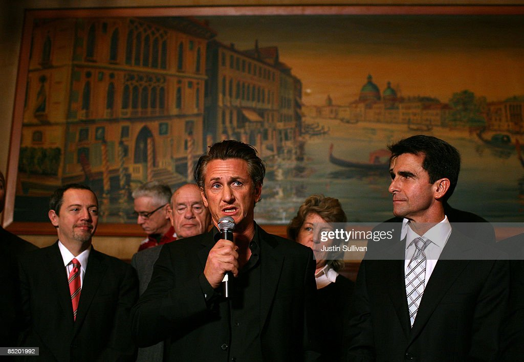 California Sen. Mark Leno (R) looks on as Academy award winning actor Sean Penn (C) speaks during a press conference announcing legislation to create a Harvey Milk Day in California March 3, 2009 in San Francisco, California. Actor Sean Penn and California State Sen. Mark Leno (D-San Francisco) announced legislation that will be introduced to create a Harvey Milk Day in California to recognize the efforts of the slain gay rights activist.