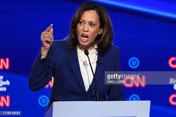 California Senator Kamala Harris speaks onstage during the fourth Democratic primary debate of the 2020 presidential campaign season co-hosted by The...
