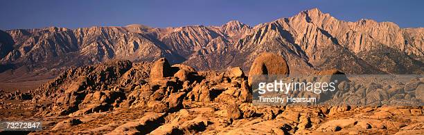 """""""usa, california, sierra nevada mountains, alabama hills, near lone pine, morning light on boulders"""" - timothy hearsum stock photos and pictures"""