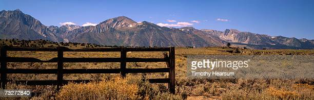 """usa, california, sierra nevada mountains, wooden fence in field of fall grasses"" - timothy hearsum stock photos and pictures"
