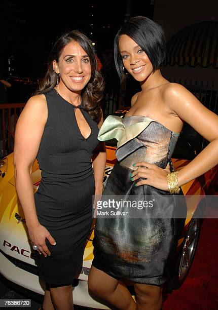 California Speedway president Gillian Zucker and singer Rihanna arrive at California Speedway's Running Wide Open party hosted by Jeff Gordon held in...