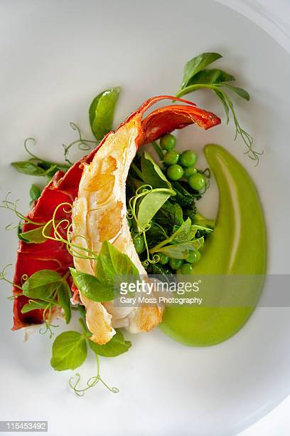 California Spiny lobster with pea and pea tendrils