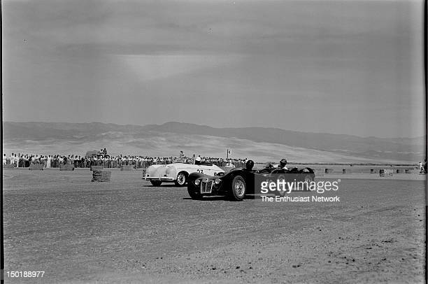 California Sports Car Club presents the 8th Palm Springs Road Race March 2627 1955 Actor James Dean rounds the outside of turn in his Porsche 356...