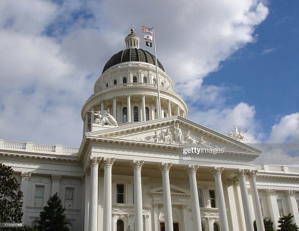 California State Capitol building Sacramento with  national flags : Stock Photo