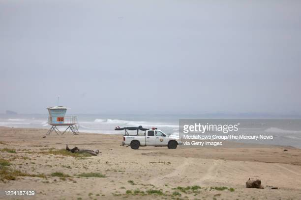 California State Lifeguard vehicle patrols Manresa State Beach on Sunday May 10 in Santa Cruz County Ben Kelly was killed by a shark in the water off...
