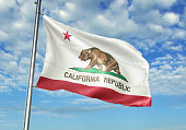 California state of United States flag waving cloudy sky background