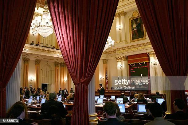California State Senators speak during a session of the California State Senate February 17 2009 in Sacramento California The California legislature...
