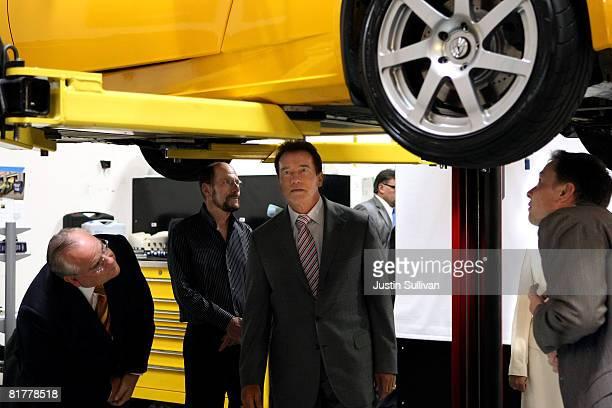 California State Treasurer Bill Lockyer Tesla Motors President and CEO Ze'ev Drori California governor Arnold Schwarzenegger and Tesla Motors Product...