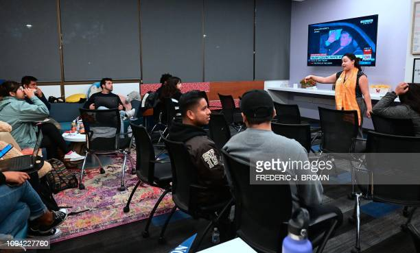 California State University Fullerton students gather for a State of the Union watch party at the Dreamers Research center on campus in Fullerton...