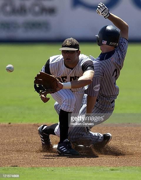 California State UniversityFullerton Titans infielder Blake Davis slides into second base as Dirtbags second baseman Chuck Sindlinger covers as they...