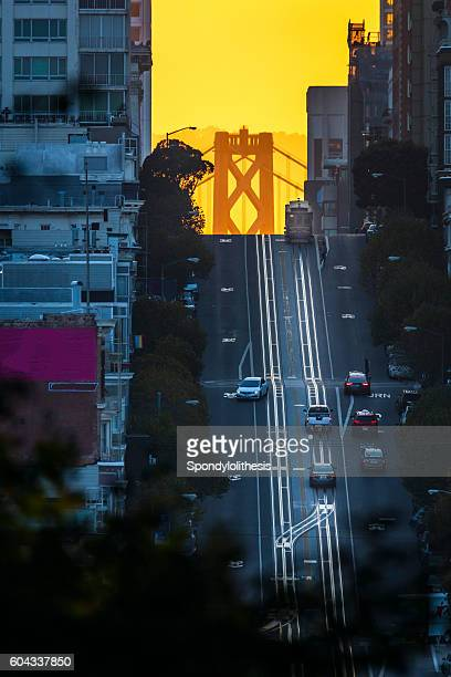 california street at sunrise, san francisco - bay bridge stock pictures, royalty-free photos & images