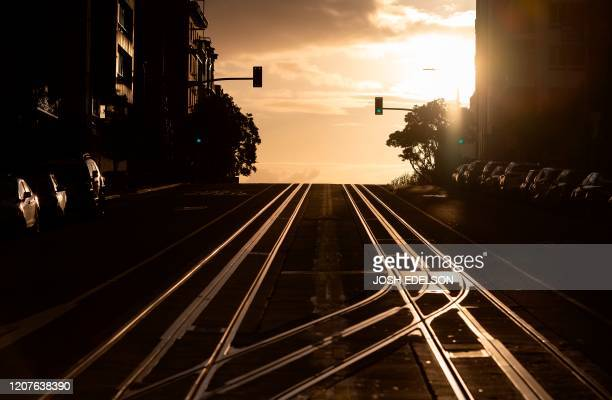 California Street usually filled with cable cars is seen empty in San Francisco California on March 18 2020 San Francisco along with seven other Bay...