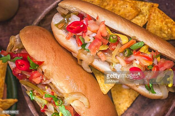 California Style Chili Hot Dog with Onions and Chili Pepper