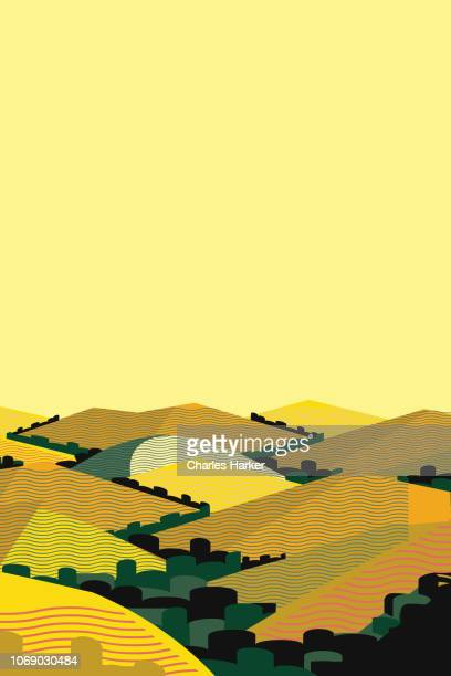 California Summer Hills Landscape Illustration