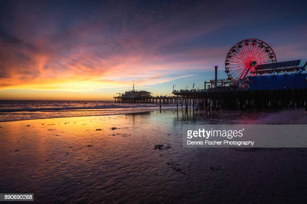 california sunset - santa monica stock-fotos und bilder