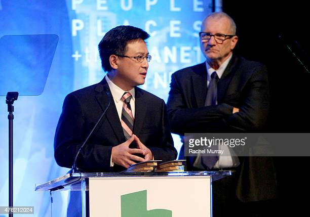 California Tresurer John Chiang and actor Ed O'Neil speak onstage during the Global Green USA 19th Annual Millennium Awards on June 6 2015 in Century...