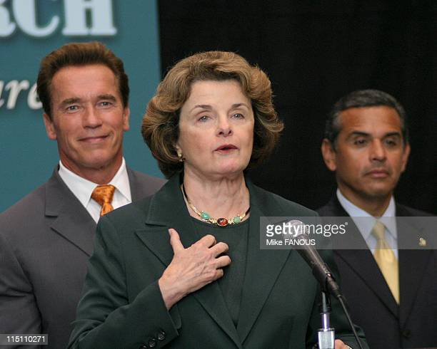California United to protect stem cell research initiative in Los Angeles, United States on August 23, 2005 - U.S. Senator Dianne Feinstein,...