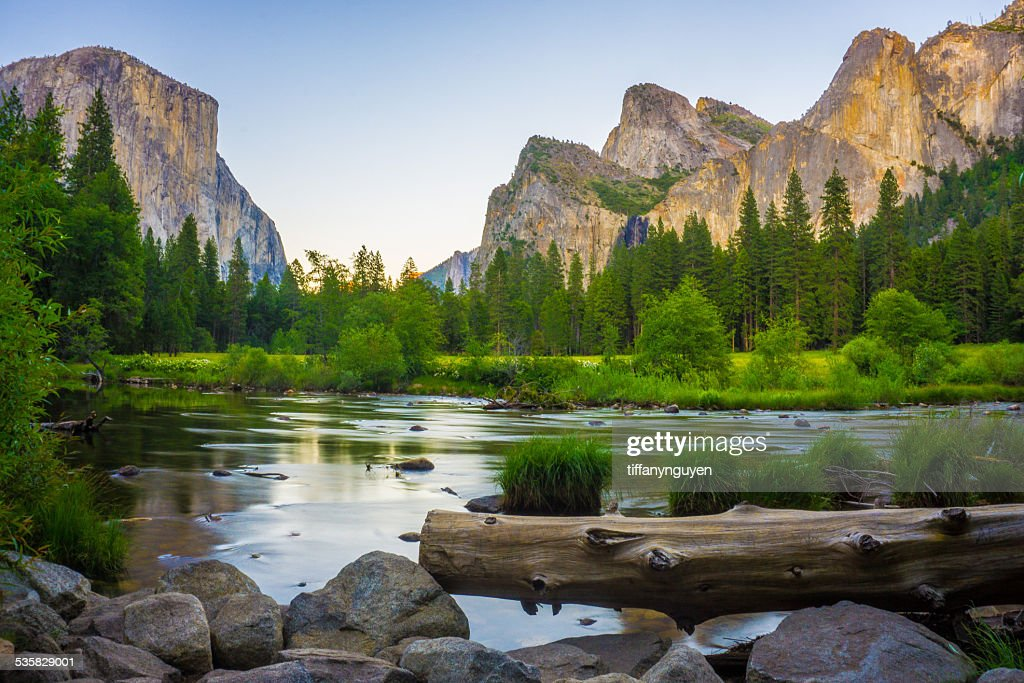 USA, California, Valley view at Yosemite National Park with El Capitan and Bridalveil Falls behind Merced River : Stock Photo