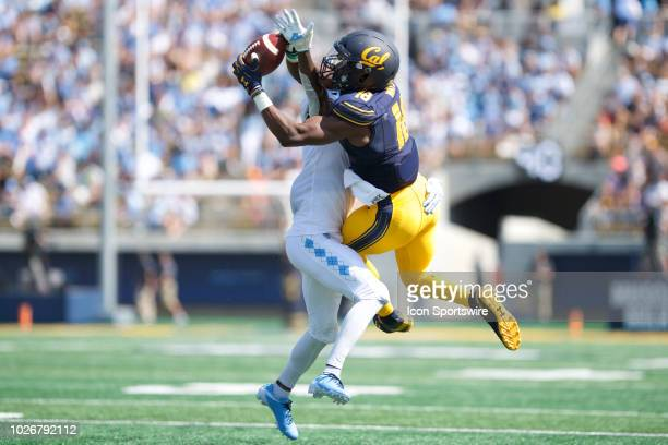 California wide receiver Maurice Ways makes a catch under pressure from North Carolina cornerback KJ Sails during the California Golden Bears game...
