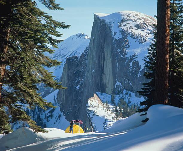 USA, California, Yosemite Nat. Park, Glacier Point, person camping