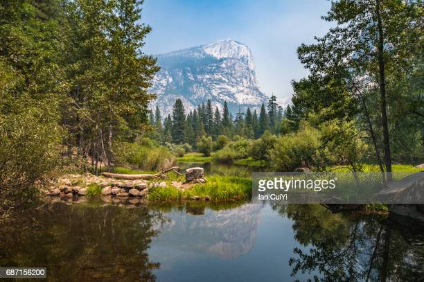 California, Yosemite National Park, Half Dome And Reflection In Merced River