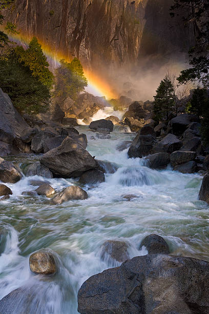 USA, California, Yosemite National Park, Rainbow over Yosemite falls