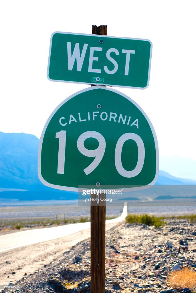 Californian 190 State highway sign and road : Stock Photo