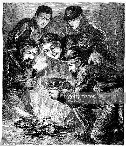 Californian gold miners c1880 Miners in the Californian gold fields inspecting the result of their digging by the light of a camp fire The discovery...