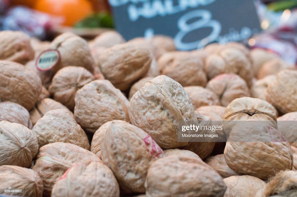 Californian Walnuts in Borough Market, London : Stock Photo
