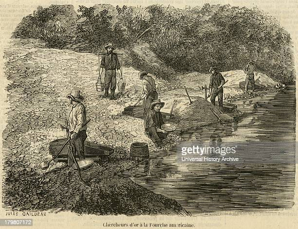 Cradling and panning for gold on American River near Sacramento Engraving 1853