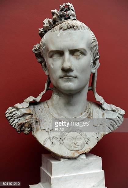 Caligua 3rd roman emperor JulioClaudian dynasty Bust of emperor with armor Rome 3741 AD Marble Ny Carlsberg Glyptotek Copenhagen Denmark