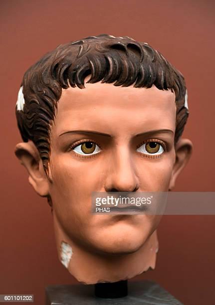 Caligua 3rd roman emperor JulioClaudian dynasty Portrait head for Caligula Modern reconstruction Ny Carlsberg Glyptotek Copenhagen Denmark