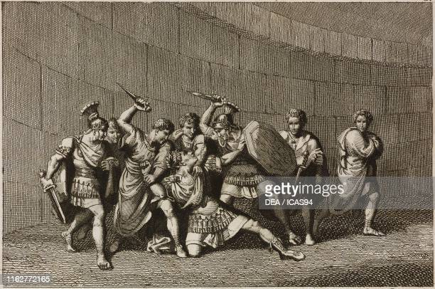 Caligula stabbed to death Plate 8 engraving by Persichini from a drawing by Pinelli from The History of the Roman Emperors from Augustus to...