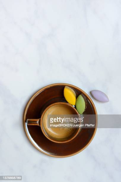 calisson d'aix and cup of coffee, almond confectionery from aix-en-provence, france - marzipan stock pictures, royalty-free photos & images