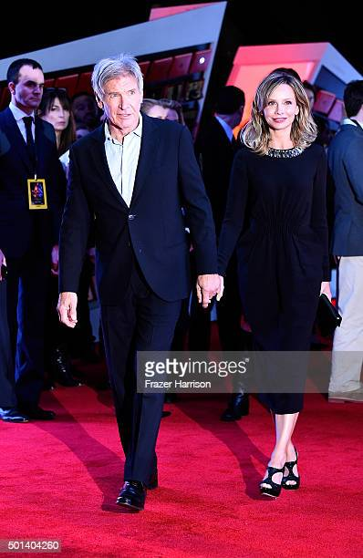 Calista Flockhart and Harrison Ford arrive at the Premiere Of Walt Disney Pictures And Lucasfilm's 'Star Wars The Force Awakens' on December 14 2015...