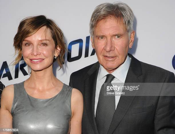 Calista Flockhart and Harrison Ford arrives at the Paranoia Los Angeles Premiere at DGA Theater on August 8 2013 in Los Angeles California