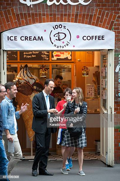 Calista Flockhart and her son Liam Flockhart sighted on July 2 2014 in Berlin Germany