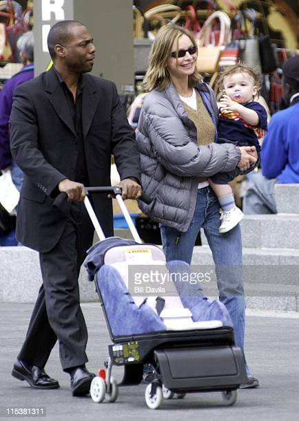 Calista Flockhart and son Liam during Calista Flockhart and Son Sighting in New York City circa May 2002 at Manhattan in New York City New York...