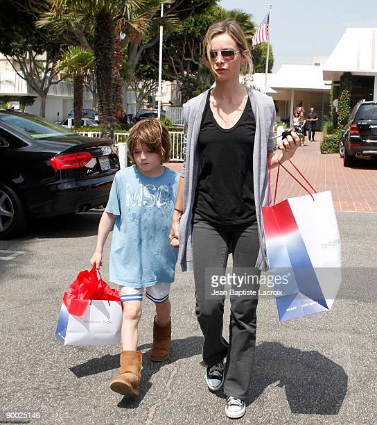 Calista Flockhart and son Liam sighting at Fred Segal on August 22 2009 in Los Angeles California