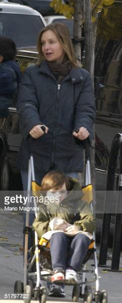 Calista Flockhart shops in Tribeca with her son Liam on November 27 2004 in New York City