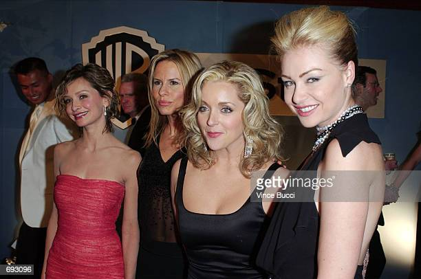 Calista Flockhart Vonda Shepard Jane Krakowski and Portia de Rossi attend the InStyle Golden Globes afterparty January 20 2002 in Beverly Hills CA